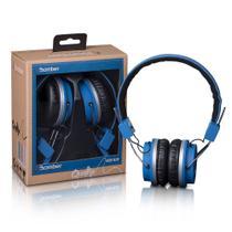 Headphone Fone  Hb02 Quake Blue  Acolchoado Com Haste Ajustável e Cabo Flat - Bomber -