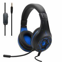 Headphone Headset Gamer compatível com PS4 Xbox Pc Notebook celular Fone jogos KOMC S90 3,5 mm-Azul -