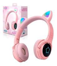 Headphone Wireless Bluetooth Gato Anime Led Hf-c320bt Exbom Pink Cerejeira -