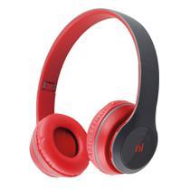 Headset Bluetooth Entrada Cartão Micro Sd Essence Vermelho Hs117 Newlink -