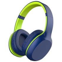 Headset Fone de Ouvido Bluetooth 5.0 Xtrax Groove com Microfone Embutido, Cabo P2  Azul / Verde -
