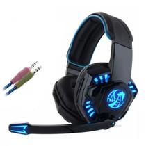 Headset Gamer com Microfone Azul e Preto com Iluminação USB + P2 PC Feasso - FONE-706 - Knup