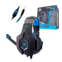 Headset Gamer com Microfone Azul e Preto PC PS3 PS4 Xbox One Knup Conector P2 - KP-451 -