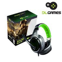 Headset Gamer DL Games Sound Gate D1, Ajustável, P2,  Alto-falante 40mm, Cabo 2m, Preto e Verde. -
