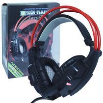 Headset Gamer Fone Ouvido com Microfone Usb P2 Led Pc Jogos Infokit GH-X20 XSoldado Preto Vermelho -