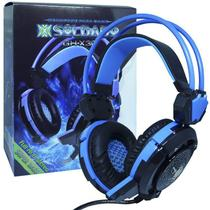 Headset Gamer Fone Ouvido com Microfone Usb P2 Led Pc Jogos Infokit GH-X30 XSoldado Preto Azul -