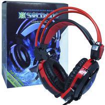 Headset Gamer Fone Ouvido com Microfone Usb P2 Led Pc Jogos Infokit GH-X30 XSoldado Preto Vermelho -
