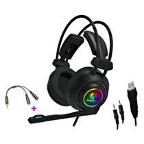 Headset Gamer Fortrek Vickers Led Rgb P/ PC, Consoles de Vídeo Game, Conector 2xP2 + Adaptador P3 -