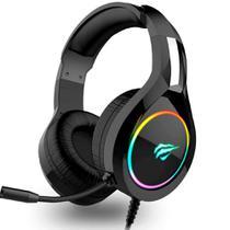 Headset Gamer Havit H2232D - LED RGB - Conector USB e 3.5mm - Com Microfone - Preto - HV-H2232D -