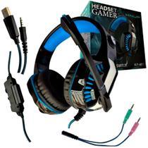 Headset Gamer LED com Microfone Retrátil Cabo P3 + Adaptador Y P2 Knup - KP-491 Azul -