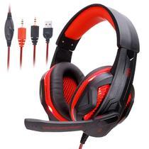 Headset Gamer Profissional Ovan bm211  Luz Led Fio com Corda e Microfone - Vermelho - Ovann