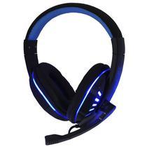 Headset Gamer Ps4 Fone Ouvido com Microfone Usb P2 Led Celular Jogos Exbom HF-G310P4 Preto Azul -