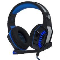 Headset Gamer Surround LED com Microfone Retrátil Cabo P3 + Adaptador p/ P2 -  AZUL KP- 491 - Selecta Tech