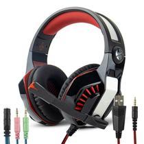 Headset Gamer Surround LED com Microfone Retrátil Cabo P3 + Adaptador p/ P2 -  VERMELHO KP- 491 - Selecta Tech