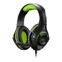 Headset Gamer Warrior Multilaser PH299 Rama P3+USB Stereo Adaptador P2 LED Verde