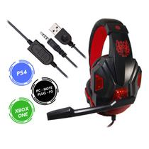 Headset Gamer Xbox One Ps4 Som Do Jogo e Chat Plug P3 Exbom HF-G390P4 -V -