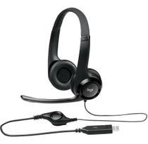 Headset Logitech H390 Áudio Digital Em Couro Usb Preto -