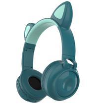Headset Orelha de Gato Fone Sem fio com Microfone Cartão SD FM LEDs Coloridos Branco - Inova