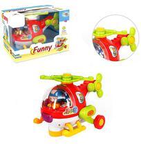 Helicoptero bate e volta com boneco funny + som e luz a pilha na caixa wellkids - Wellmix