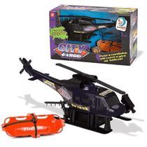 Helicóptero Preto Com Friccção City Force Cardoso Toys -