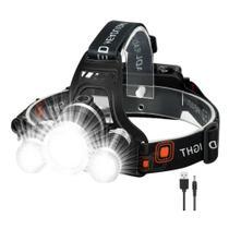 Holofote lanterna de cabeça Recarregável Bivolt 4 modos de Iluminação, Camping Ciclismo - T6 Cree