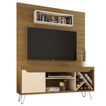 Home rack painel para tv largura 136 cm cor marrom e bege - Bechara