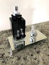 Home spray preto cubo 250ml - com bandeja espelhada retangular - Cheirinho De Amor
