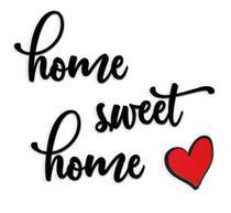 Home Sweet Home 50x40cm Lettering em Madeira MDF Aplique de Parede - Império Das Artes