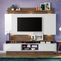 Home Theater com Painel para TV 220cm 2 Portas Correr Luzes LED TB113L Dalla Costa -