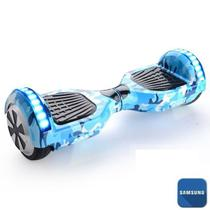 Hoverboard 6.5 Azul Militar Bluetooth LED lateral e frontal  - Bateria Samsung - Smart balance wheel