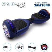 "Hoverboard 6.5"" Full LEDs Azul Bluetooth com Controle - Bateria Samsung - Smart balance wheel"
