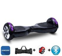 "Hoverboard 6.5"" Preto Bluetooth LED lateral e frontal  - Bateria Samsung - Smart balance wheel"
