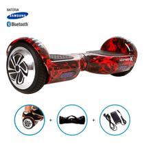 "Hoverboard 6,5"" Red Fire Marca HoverboardX USA Bateria Samsung e Speaker Bluetooth Smart Balance Acompanha Bolsa -"