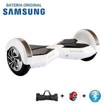 """Hoverboard 8"""" Branco e Preto Bluetooth LED lateral  - Bateria Samsung - Smart balance wheel"""
