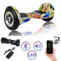 Hoverboard Clássico AMARELO COLORIDO 10 Polegadas - Smart Balance - Bluetooth - LEDs -  Bateria Original com bolsa -