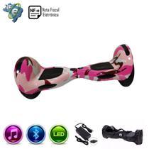 Hoverboard Grande ROSA CAMUFLADO 10 Polegadas - Smart Balance Wheel - Bluetooth - LEDs -  Bateria Original com bolsa -