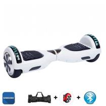 "Hoverboard Scooter 6.5"" BRANCO Bluetooth e LED Lateral com Bolsa - Bateria Samsung - Smart Balance -"