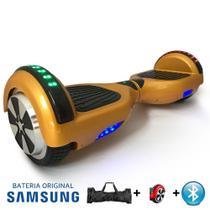 """Hoverboard Scooter 6.5"""" DOURADO Bluetooth e LED Lateral com Bolsa - Bateria Samsung - Smart Balance -"""