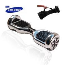 Hoverboard Scooter 6.5 Polegadas PRATA CROMADO com bolsa - LED Frontal, Bateria Samsung - Smart Balance