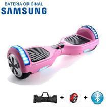 "Hoverboard Scooter 6.5"" ROSA Bluetooth e LED Lateral com Bolsa - Bateria Samsung - Smart Balance -"