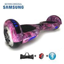 "Hoverboard Scooter 6.5"" UNIVERSO LILÁS Bluetooth e LED Lateral com Bolsa - Bateria Samsung - Smart Balance -"