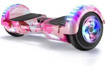 Hoverboard Skate Elétrico 6.5 Rosa Camuflado Led Bluetooth - 6'5 - Placas- Smart Balance