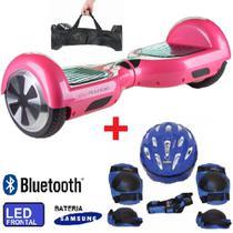 Hoverboard X 6.5 ROSA + Kit de Proteção Azul Bluetooth, LED com Bolsa - Bateria Samsung - Smart Balance PM -