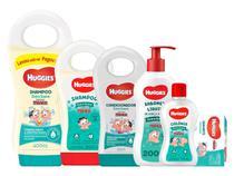 Huggies baby extra suave kit shampoo 400ml + 200ml cond colonia sabonete liq barra -