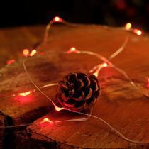 Iluminação de Natal - Pisca Pisca com de Arame com 30 Leds 2 Pilha AA Vermelho - Cromus