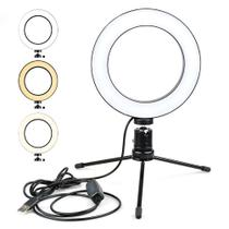 Iluminador Anel de Led Ring Light USB 16CM com Mini Tripé - Ukimix