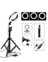 Iluminador De Led Ring Light 26cm Completo Tripe 1.60 Metros - Ms Magazine