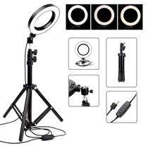 Iluminador de Led Ring Light 26CM Completo Tripe 1.60 metros - Ukimix