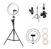 Iluminador LED Ring Light 26cm para Maquiagem Fotos com tripé e suporte celular - Grupo Online
