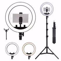 Iluminador LED Ring Light 26cm para Maquiagem Fotos com tripé e suporte celular - Inova